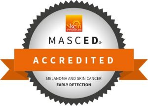 A seal to show that this person is MASCED accredited to early detect Melanoma and Skin Cancer